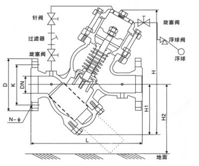 yq98003过滤活塞式遥控浮球阀产品结构图及外形尺寸